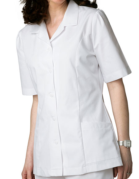 Buy Adar Women Two Pockets Lapel Collared White Scrubs