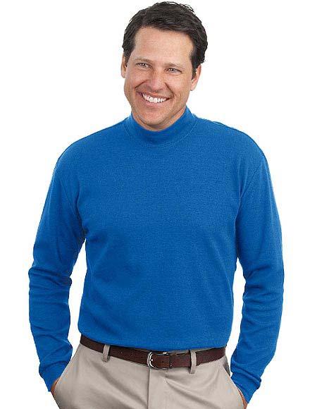 Buy sanmar port company mens mock turtleneck t shirt for for Big and tall mock turtleneck shirt