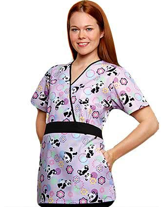 Buy Adar Womens Two Pocket Split V Lavander Panda Nurse