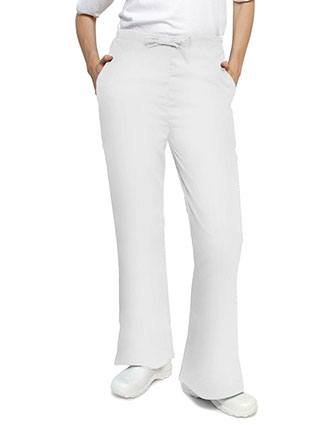 Adar Women's Two Slash Pockets Flare Leg Scrub Pants-AD-507