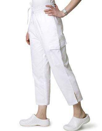 Adar Womens White Two Pocket Cargo Medical Scrub Pants-AD-509