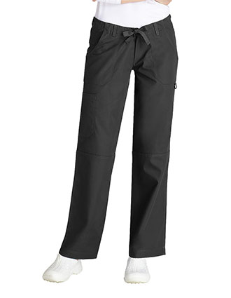 Adar Women's Multi Pocket Drawstring Petite Scrub Pants