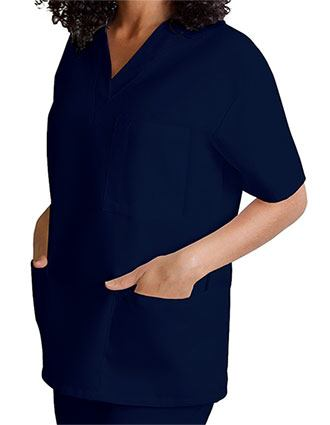 Adar Women's V-Neck Three Pockets Nursing Scrub Top-AD-601