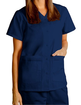 Adar Women Nurses Double Pocket Snap Front Scrub Top-AD-604