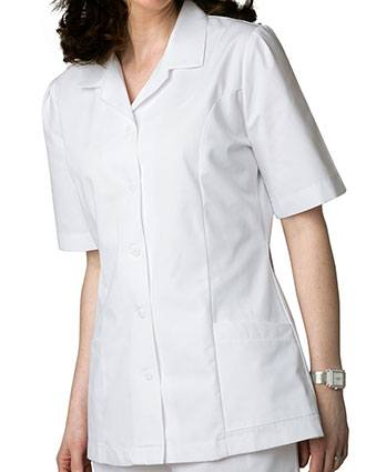 Adar Women Two Pockets Lapel Collared White Scrubs Tops-AD-605