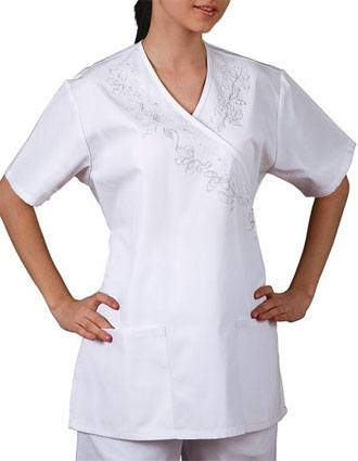 Adar Women Nursing Scrubs Mock Wrap Front Scrub Top-AD-613