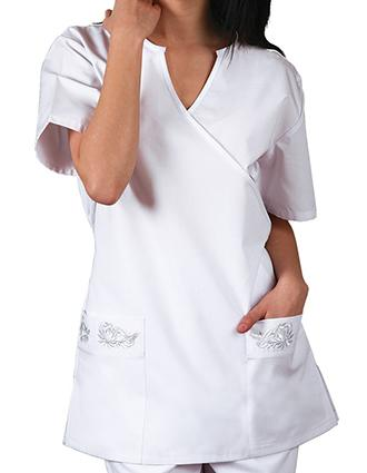 Adar Women Two Pockets Mock Wrap Medical Scrub Top