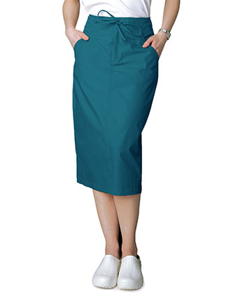 Adar Women Two Pocket Mid-Calf Drawstring Uniform Skirt-AD-707