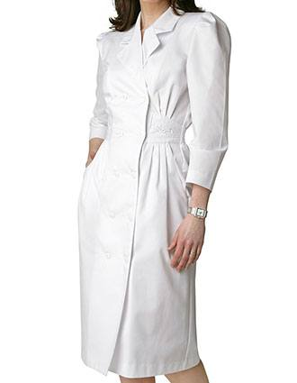 Adar Women Scrub Uniforms Two Pockets White Dress-AD-810
