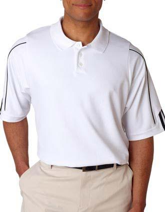 A76 Adidas Men's ClimaLite 3-Stripes Cuff Piqué Polo-AD-A76