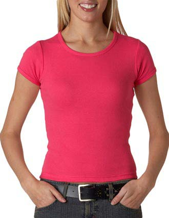 Anvil Ladies' 1X1 Rib Scoop-Neck Tee-AN-1441
