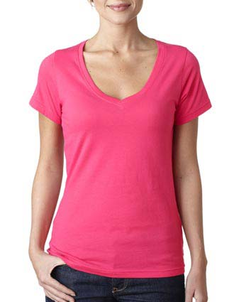 392 Anvil Ladies' Sheer V-Neck Tee-AN-392