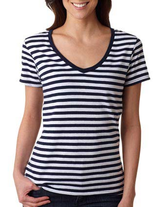 8823 Anvil Ladies' Striped V-Neck Tee-AN-8823