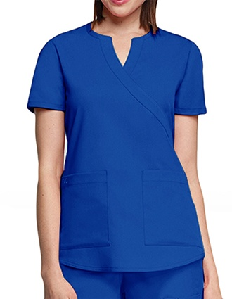 Barco NRG Junior Solid Two Pocket Mock Wrap Scrub Top