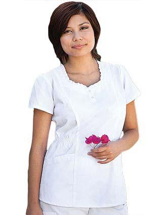 Buy Barco Prima Women Round Ruffle Neck White Nurse Scrub