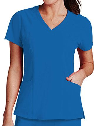 Barco One Women 4-Pocket Princess Seam V-Neck Scrub Top