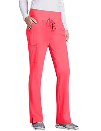 Barco One Women's Tall 5-Pocket Knit Waistband Flare Scrub Pant