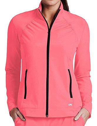 Barco One Women's Crew Neck Zip Front Basic Jacket