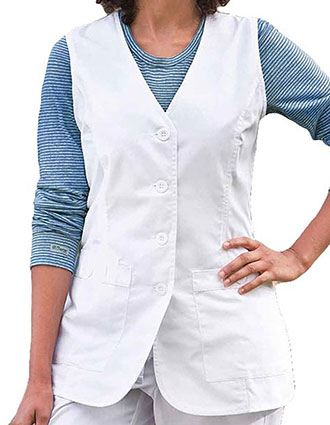 Barco Prima Women Button Front White Medical Vest-BA-7182