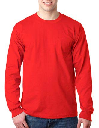 8100 Bayside Adult Long-Sleeve Cotton Tee with Pocket-BA-8100