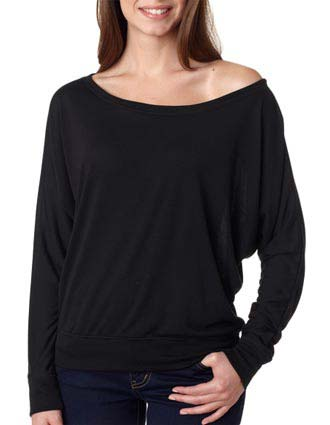 8850 Bella+Canvas Ladies' Flowy Off-Shoulder Long-Sleeve Tee-BE-8850