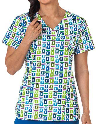 Bio Prints Ladies Pop Art Blue Mock Wrap Scrub Top