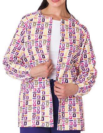 Bio Prints Ladies Pop Art Purple Raglan Sleeve Warm Up Scrub Jacket-BI-1437335