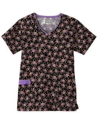 Bio Womens Contrast Edge V-Neck Printed Scrub Top