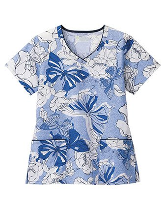 Bio Prints Contrast Trimmed Beginnings Print V-Neck Top