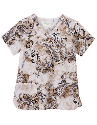 Bio Womens Paisley Parade Print Mockwarp Top
