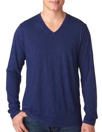 Bella+Canvas Men's Tri-Blend Long-Sleeve V-Neck Tee-CA-3425