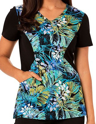 Careisma Tropi-Cool Women's So Frond of You Printed V-Neck Scrub Top
