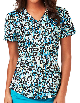Careisma Something Blue Women's Wild Streak Mock Wrap Printed Top