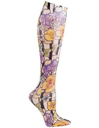 Celeste Stein Women's Knee High 8-15 mmHg Compression Roses N Stripes Hoisery