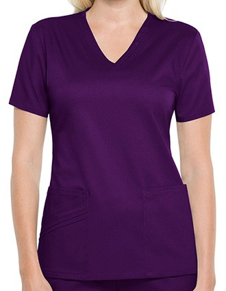 Cherokee Luxe Women Solid V-neck Nursing Scrub Top-CH-1845