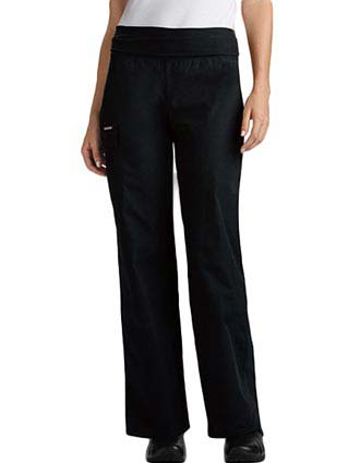 Flexibles Womens Fold Over Waist Boot Cut Scrub Pants-CH-2074