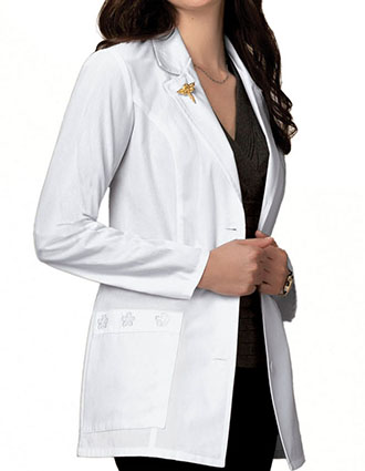 Cherokee Women Two Pocket Daisy Embroidered Medical Lab Coat-CH-2390