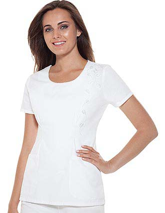 Buy Baby Phat Women Embroidered Scoop Neck White Scrub Top