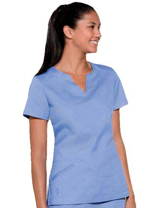 Baby Phat Women Split Mock Wrap Nurses Scrub Top-CH-26891