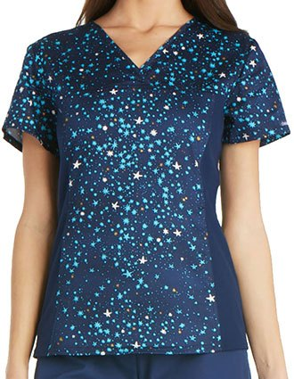 Cherokee Free To Fly Women's Starlight Delight V-Neck Knit Panel Scrub Top