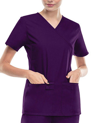 Flexibles Women Solid Mock Wrap Nursing Scrub Top