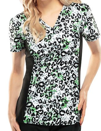 Cherokee Escape Into Nature Women's Go Fur It Printed V-Neck Scrub Top