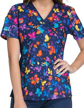 Cherokee Flexibles Women's Flower You Doing Mock Wrap Scrub Top