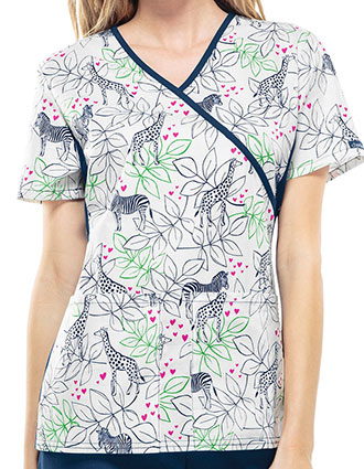 Cherokee Flexibles Women's Zoo Are You Printed Mock Wrap Scrub Top
