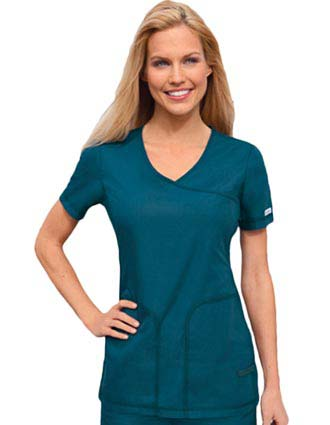 Cherokee Pro-Flexibles Womens Two Pocket Flexible Mock Wrap Top-CH-2992