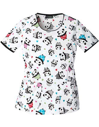 Runway Panda Party Round Neck Nursing Scrub Top-CH-3964PA