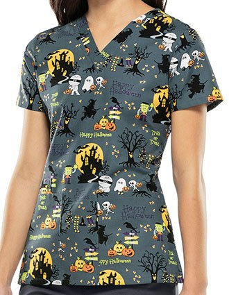 Cherokee Halloween Women's Ghouls Night Out Print Top