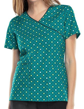 Cherokee Genuine Women's Dots For Sure Teal Mock Wrap Top