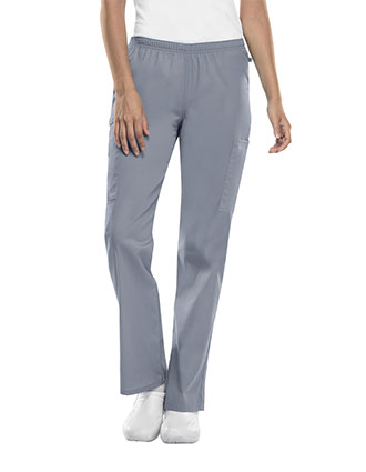 Cherokee Workwear WW Flex with Certainty Women's Mid Rise Straight Leg Elastic Waist Pant