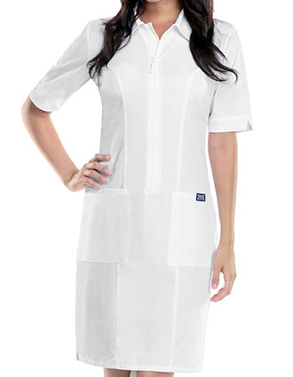 Cherokee Workwear Womens White Zip Front Dress